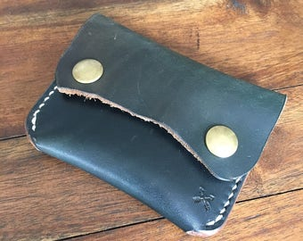 Handmade - Full Grain Leather - Snap Wallet - Minimalist - EDC - Aqua - Blue - Card Holder - Wallet