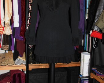 Ruffled Feathers-60's Black Tunic Mini Dress with Crepe Ruffled V-Neck and Cuffs