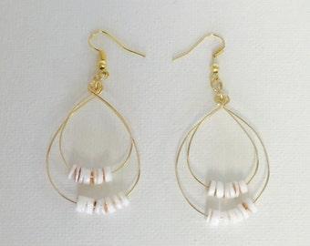 Tiny Puka Shells Gold Wire Double Hoop Earrings