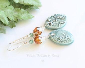 Sterling Silver Earrings, Porcelain Discs, Swarovski Crystals, Green Earrings, Boho Earrings, Mother's Day Gift, Gift For Her, Rustic Design
