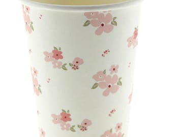 Cups | White Floral Cups | 12 Paper Cups | Tea Party | Vintage | Shabby Chic | Pink Flowers | Premium Quality | The Party Darling