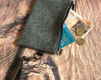 Harris tweed coin purse zipper pouch wristlet clutch purse tweed purse grab and go purse ready to ship