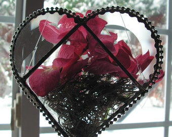 Heart Shaped Hanging Vase in Stained Glass