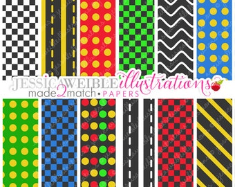Lets Go Fast Cute Digital Papers - Commercial Use OK - Racing Digital Backgrounds, Scrapbook Papers