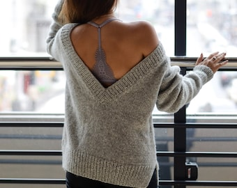 Oversized knit sweater, Womens pullover sweater, Oversized knitting, Open back knit sweater for women, Gift for her, Oversized sweater