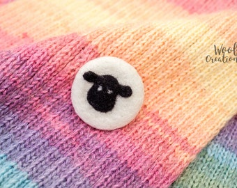 Needle felted brooch with a sheep. Felted animal brooch of wool