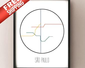 Sao Paulo, Brazil - Minimalist Metro Subway Art Print - Metropolitano de São Paulo