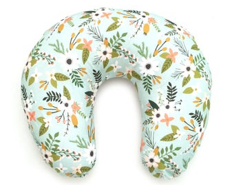 Nursing Pillow Cover Mint Sprigs and Blooms. Nursing Pillow. Nursing Pillow Cover. Floral Nursing Pillow Cover.