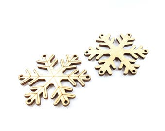 Raw wooden snowflakes 5 +/-55mm * Christmas tree *.