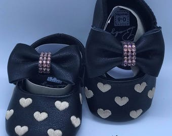 Black Baby Mary Jane Shoes With Swarovski Crystals