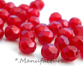 6mm (50pc) Red Oxblood glass faceted beads, Czech glass