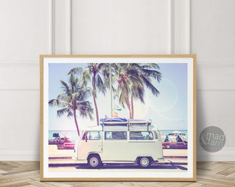 Retro Van Print, Retro Van Poster, California Wall Art, Beach Wall Decor, Printable Art, California Beach Print, Wall Art, Beach Van Print