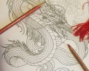 Adult Coloring Page - Dragon (two versions)