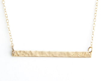 "Extra Long Skinny Bar Initial Necklace, Hammered, 1.75"", Personalized, Gold Filled, Sterling Silver, Rose Gold Filled"