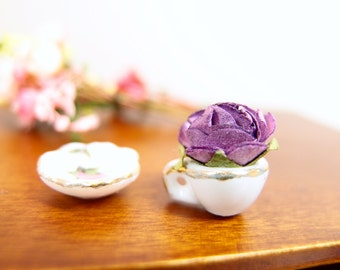 1:12 Purple Rose in a Teacup Saucer Floral Arrangement, Cottage Flowers in Ceramic Cup, OOAK one inch scale dollhouse artisan miniature
