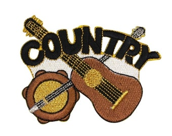ID 9183 Guitar & Banjo Patch Real Country Music Fan Apparel Iron On Applique