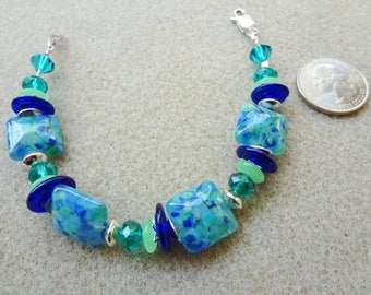 Light Blue, Lime Green, Cobalt Blue Lampwork Glass and Sterling Silver Beaded Bracelet - Handmade - Large Wrist