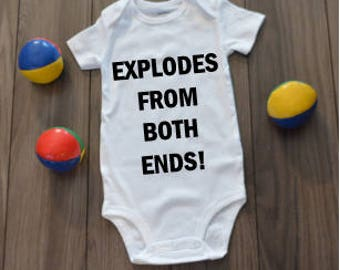 Explodes From Both Ends Bodysuit Onesie