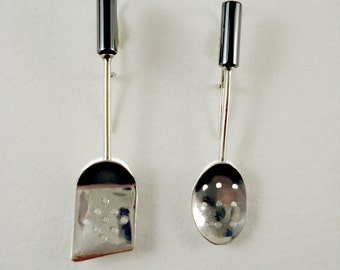 Spatula and Spoon with Holes Utensil Earrings
