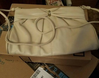 Off white purse with long strap
