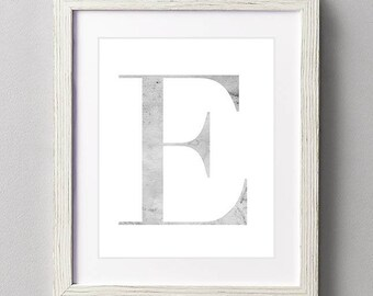 Letter E | Nursery Print | Nursery Art | Alphabet | Instant Download | Digital Print | Wall Art | Gray | Initials | Grey | Gender Neutral