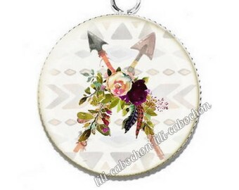 Ethnic Dreamcatcher av28 flowers resin pendant cabochon