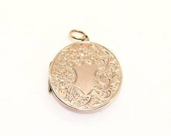 Antique VICTORIAN 9ct Rose Gold Bk & Ft Large Circular Locket /Pendant Beautiful Antique Jewelry Piece 19th century 1800s