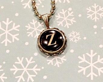letter z necklace, typewriter z, letter z jewelry, vintage letter z, vintage jewelry