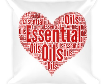 Essential Oils love heart word art Square Pillow