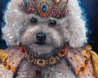 Majestic Maltipoo, Original Art oil painting, custom dog portraits, custom Pet Portrait oil paintings by puci, 16x20 inches