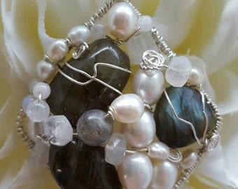 PENDANT Labradorite Pearl Wire wrapped Sterling silver Diamond Pendant