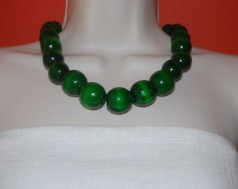 Green Statement Necklace Chunky Grass Green Beaded Necklace Wood Bold Necklace and Earrings Set