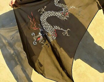 Hand Painted Silk Scarf with Silver Dragon Black shawl wrap with daenerys dragon Gift for her