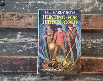 Hardy Boys vintage book, Hunting for Hidden Gold book, Franklin Dixon book, vintage Hardy Boys series book, vintage mystery book