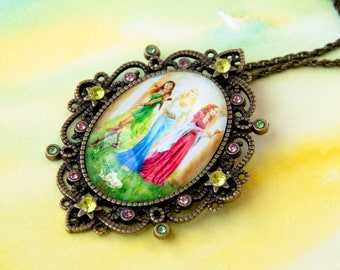 "Necklace with pendant-medallion and rhinestone shown / / fantasy and Victorian / / colors and bronze / / artist jewelry / / ""Appearances"""