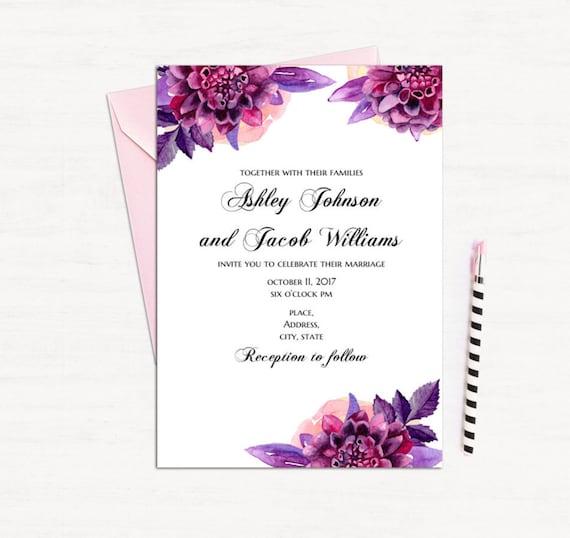 Purple Floral Invitation Template Wedding Invitation Printable