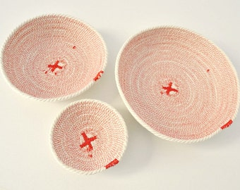 Desk organizer cotton basket or home organizer keys, ring holder red and white, Great Coiled bowl for a beach decor. Set of cotton bowls.