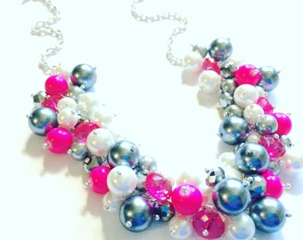 Statement Necklace - Gray and Hot Pink Cluster Necklace - Pearls, Crystals, and Glass Beads