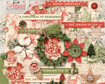 Clipart Christmas, Digital Scrapbooking Elements, For The Holidays, Instant Download, Be Merry, Red and Green, Christmas Photo Album