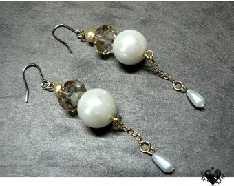 Elegant Pearl and Gold Crystal Dangle and Drop Earrings
