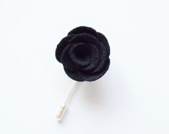Black felt flower lapel pin for men with stick pin | wedding Boutonniere alternative | wedding guest accessories