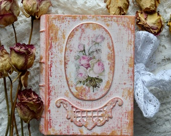 Pink vintage Shabby Chic journal blank journal memory book keepsake .Made to order.Round spine.