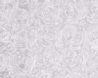 Satin rosette 3D floral embroidery backdrop white home fabric decor per yard