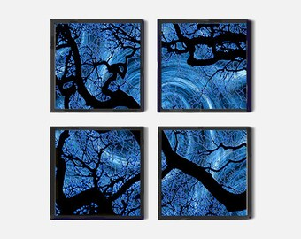 Set of 4 Abstract Art Prints, 4 Piece Wall Art Decor, Abstract Tree Art, Tree Against Colorful Abstract Sky, Downloadable Four Prints