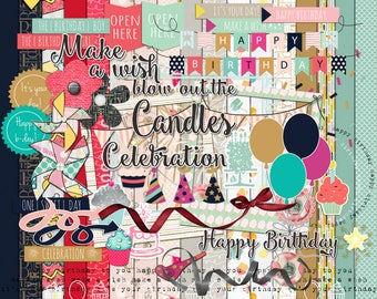 Make a wish digital Scrapbooking Kit, Birthday Scrapbooking embellishments, Birthday digital scrapbooking kit, Birthday digital papers pack