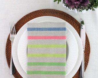 Napkins set of 4 'Highlighter' linen napkins