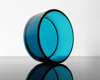 Turquoise Glass Bowl / 70s / Mid Century / Vintage