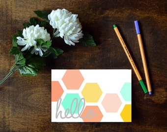 Hello Hexagon Greeting Cards || Instant Download