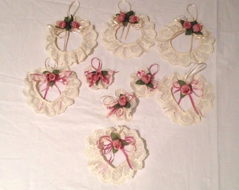 Vintage Off White Lace and Mauve Flowered Heart & Round Ornaments-Hand Made