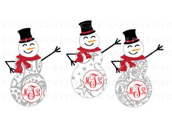 Snowman Monogram Christmas Holiday SVG PNG DXF file
